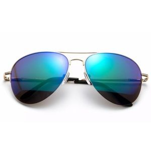 Accessories - Green Mirror Lensed Aviator Sunglasses